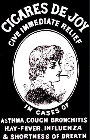 "This 1881 Wilcox & Co. ad for Cigares De Joy makes the claim that they benefit those suffering from ""asthma, cough bronchitis, hay-fever, influenza, and shortness of breath."" Credit: Stanford School of Medicine"